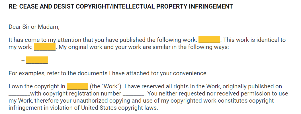 Copyright Infringement Notice Example